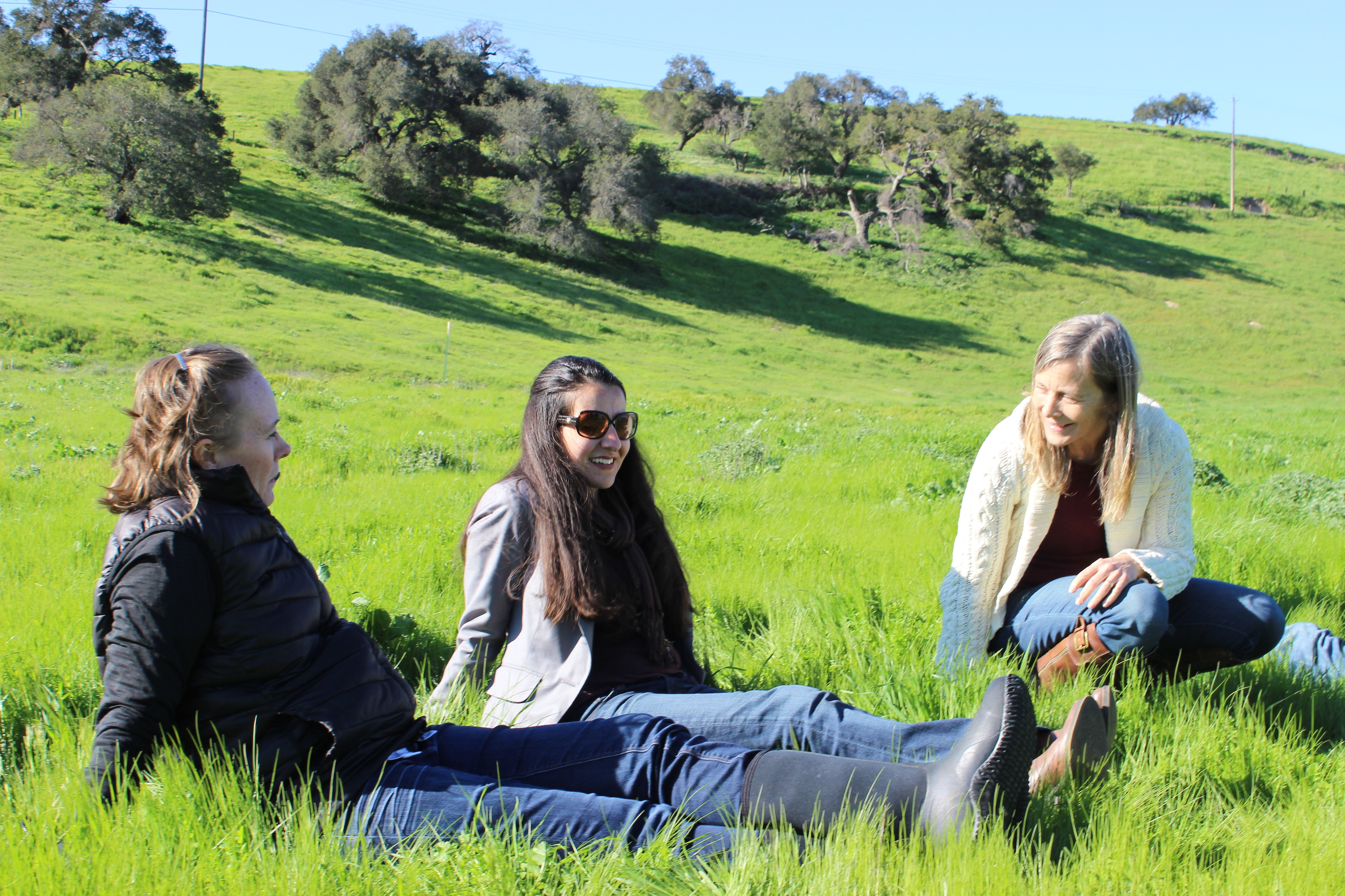 Sigrid Wright, Monique Limon, and Sharyn Main enjoying the green hills at Ted Chamberlin Ranch