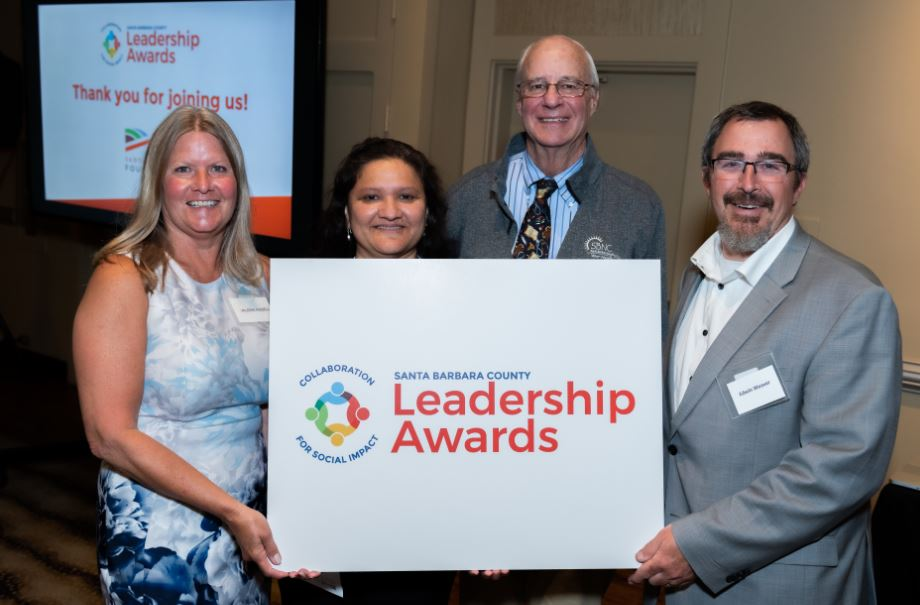 2019 Santa Barbara County Leadership Award Recipients. Left to Right: Valerie Kissel, Emerging Leaders Award Recipient and Executive Director of Youth & Family Services YMCA; Maricela Morales, Visionary Leader Award Recipient and Executive Director of CAUSE; Dr. Charles Fenzi - Representing the Bridge Clinic, Better Together Award Recipient and Chief Executive Officer & Chief Medical Officer of the Santa Barbara Neighborhood Clinics; and Edwin Weaver, Emerging Leader Award Recipient and Executive Director of Fighting Back Santa Maria Valley.